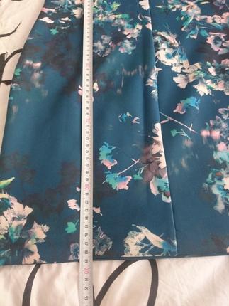 s Beden dalgıç kumaş petrol mavi çiçekli elbise