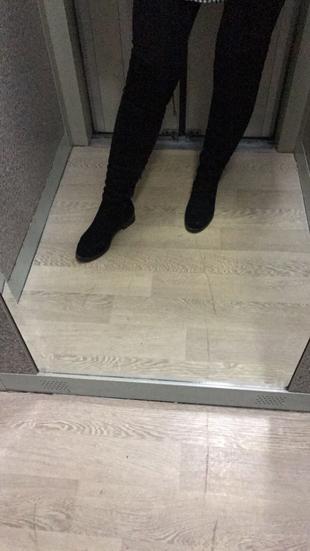 Diz Üstü Süet Çizme Shoe Tek