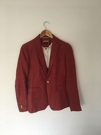 massimo dutti kırmızı keten ceket