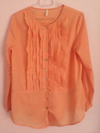 Yakan Detaylı Somon Renkli Gömlek Gömlek