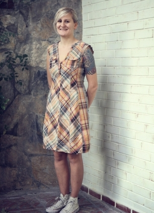 Sarı-Krem-Gri Ekose Elbise