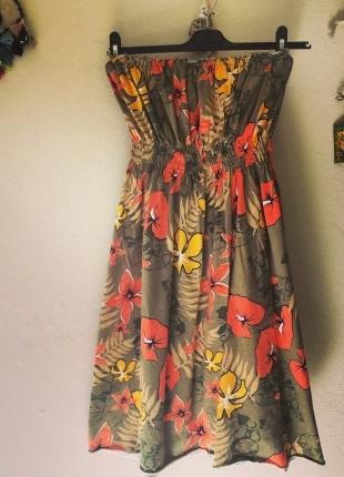 Yeşil-Turuncu Çiçekli Elbise