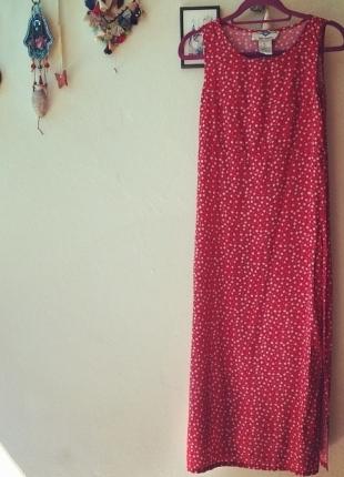 Kırmızı Vintage Çiçekli Elbise