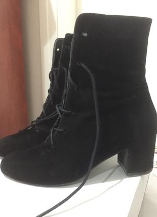 Siyah Minik Topuklu Bot Shoe Tek