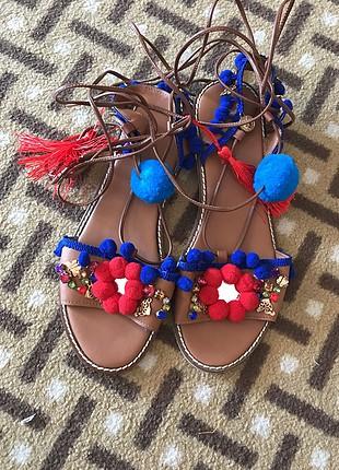 39 Beden kahve Renk Ponponlu sandalet