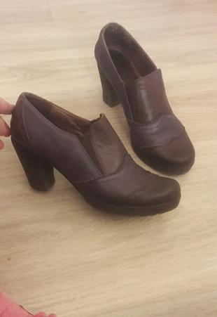 Kahverengi Lacivert Detaylı Deri Ayakkabı..sorunsuzdur..deri-Iş Derimod