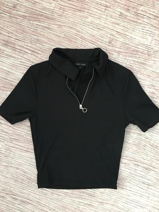 Kısa Top S Besen Onu Fermuarlı Siyah Tshirt New Look
