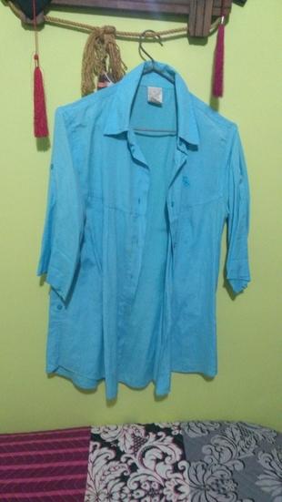 Yarım Kol Mavi Gömlek Abercrombie & Fitch