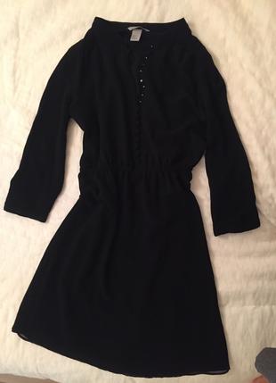 Siyah Şifon Elbise H&M
