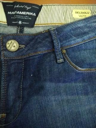 30 Beden mavi jeans delidolu pantalon
