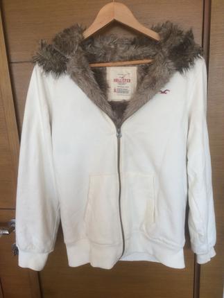 Beyaz, İçi Kürklü, Kışlık Hollister Marka Sweat Mont Dış giyim