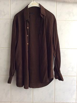 İsteyen hemen alsın hakiki İpek gömlek kahverengi