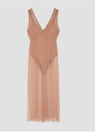 Zara Hic Giyilmemiş Uzun Body (ten rengi)