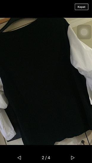 Koton Siyah Kolları Gömlek Bluz