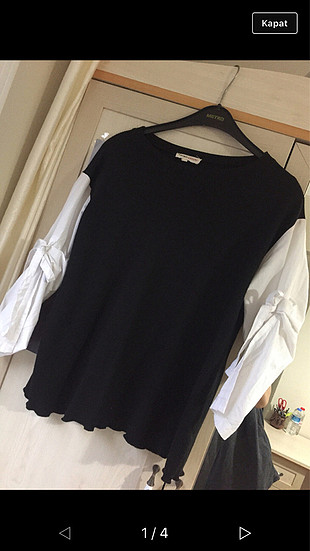s Beden siyah Renk Siyah Kolları Gömlek Bluz