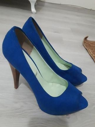 platform uzun topuk parlement mavisi suet bayan ayakkabısı