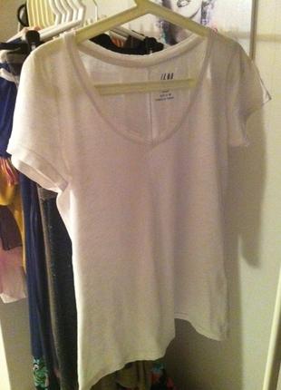 V Yaka Beyaz Basic H&m T-Shirt T-shirt