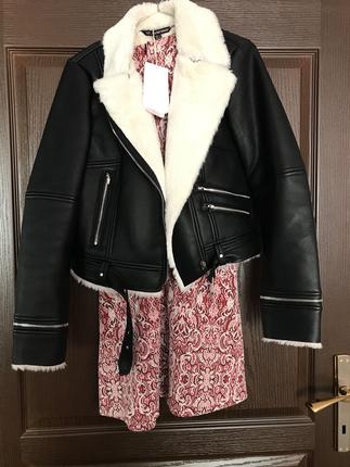 Zara Hiç giyilmedi zara ceket kürklü kaban mont