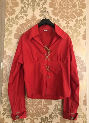Kırmızı İp Detaylı Gömlek Gömlek