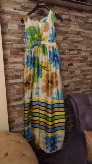 maxi çiçekli elbise