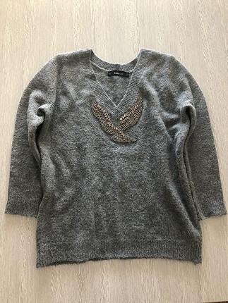 s Beden gri Renk Zara taşlı kazak