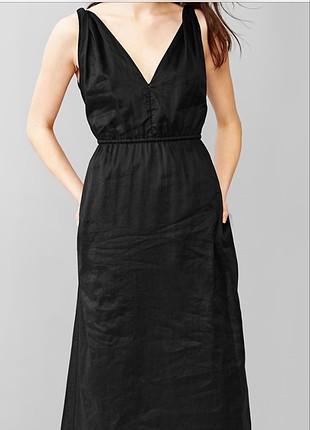 Siyah ince keten elbise